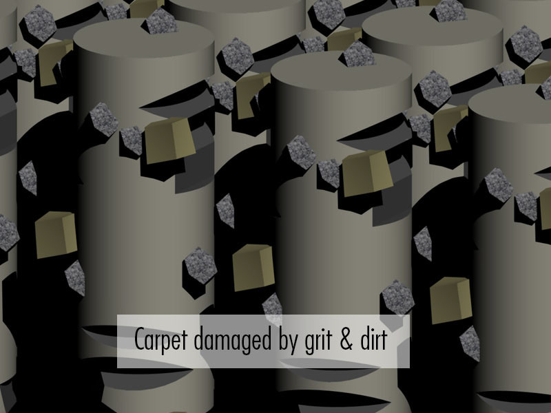Benefits of carpet cleaning: 3D rendering of dirty carpet