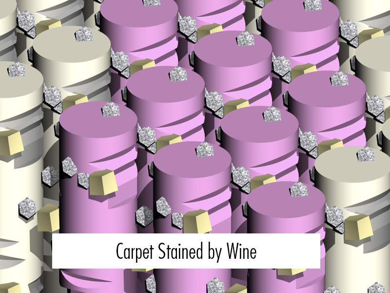 Stain Removal: 3-D image of carpet stain by wine